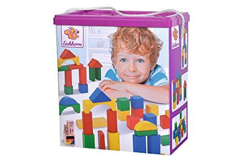 [Amazon Prime] Eichhorn 100 bunte Holzbausteine in der Aufbewahrungsbox mit Kordel und Sortierdeckel, für Kinder ab 1 Jahr
