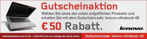 50 Euro Rabatt auf sehr viele Lenovo Ultrabooks, dadurch sehr oft Idealo-Bestpreis