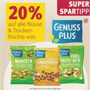 [Rossmann] 20% Rabatt auf alle Nüsse und Trockenfrüchte von Genuss Plus (kombinierbar mit 10% Coupon)