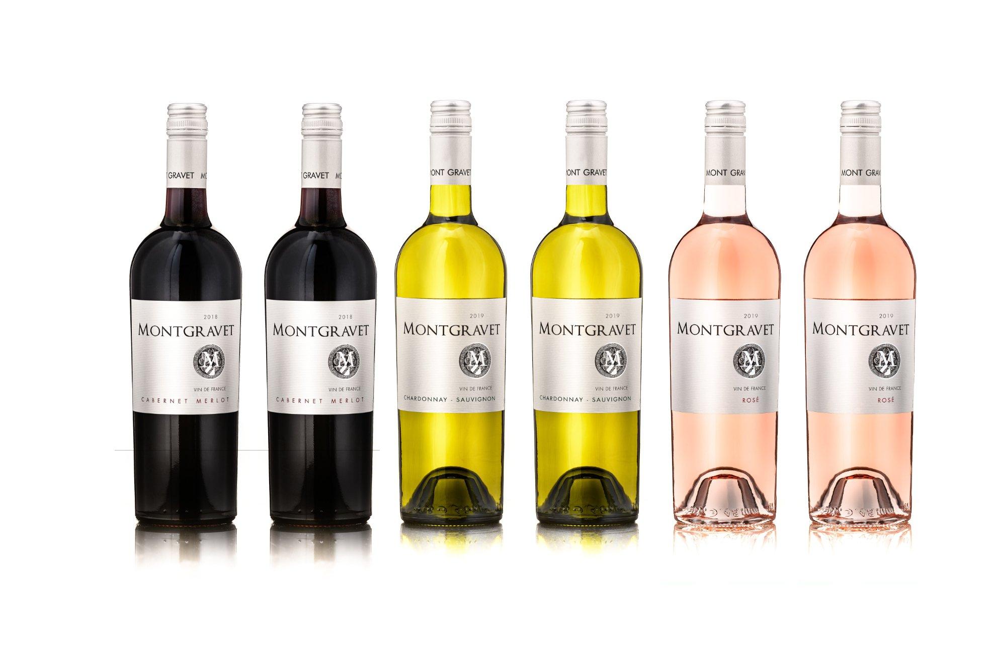 6er Weinbox Montgravet Vin de France 2018 - 2x Cabernet Merlot - 2x Chardonnay Sauvignon - 2x Rosé | 12 - 13 % vol | 6 x 0,75 l