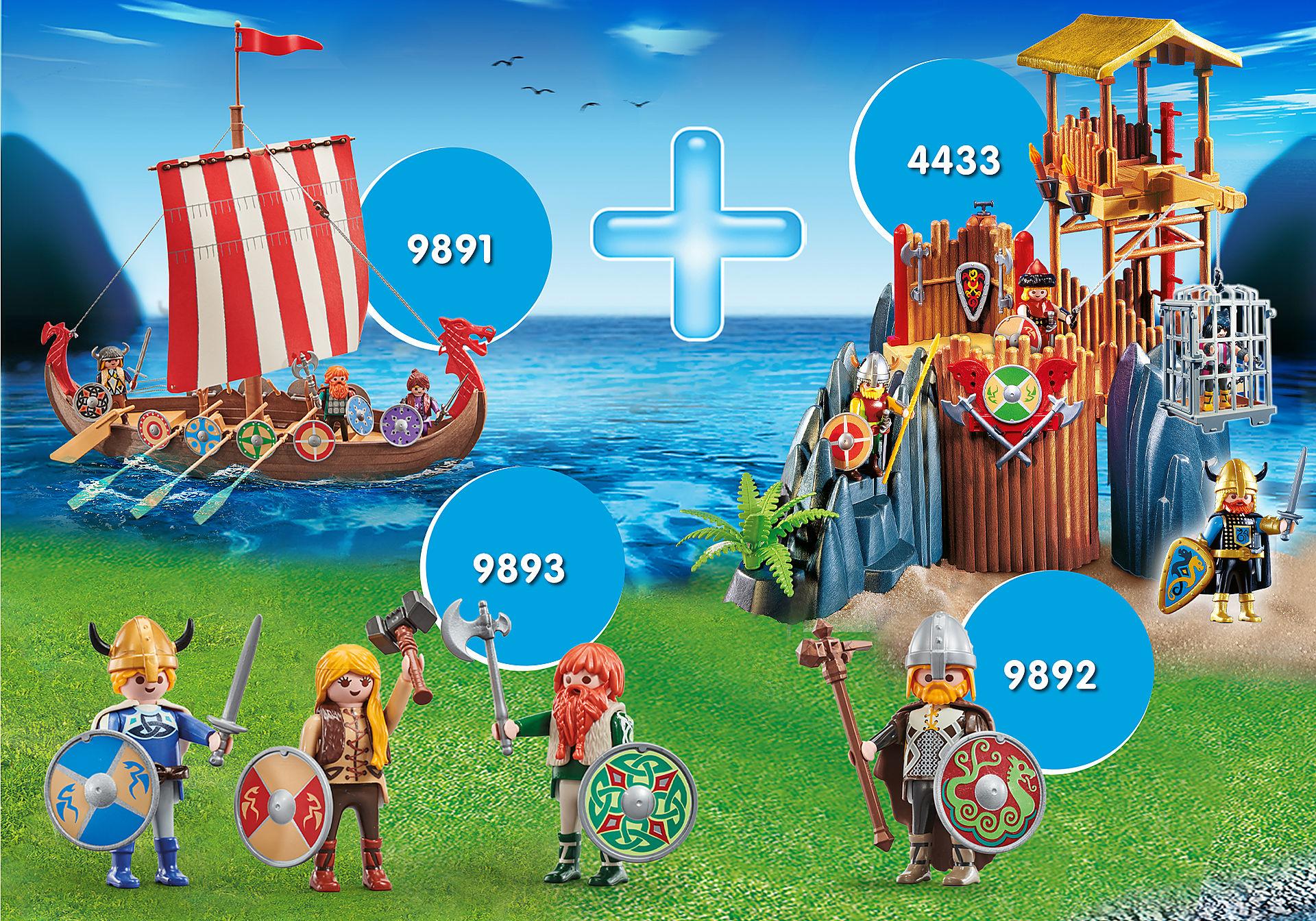 """Playmobil-Set """"Wikinger"""" mit Wikingerschiff (9891), Bastion (4433) und Wikingern"""