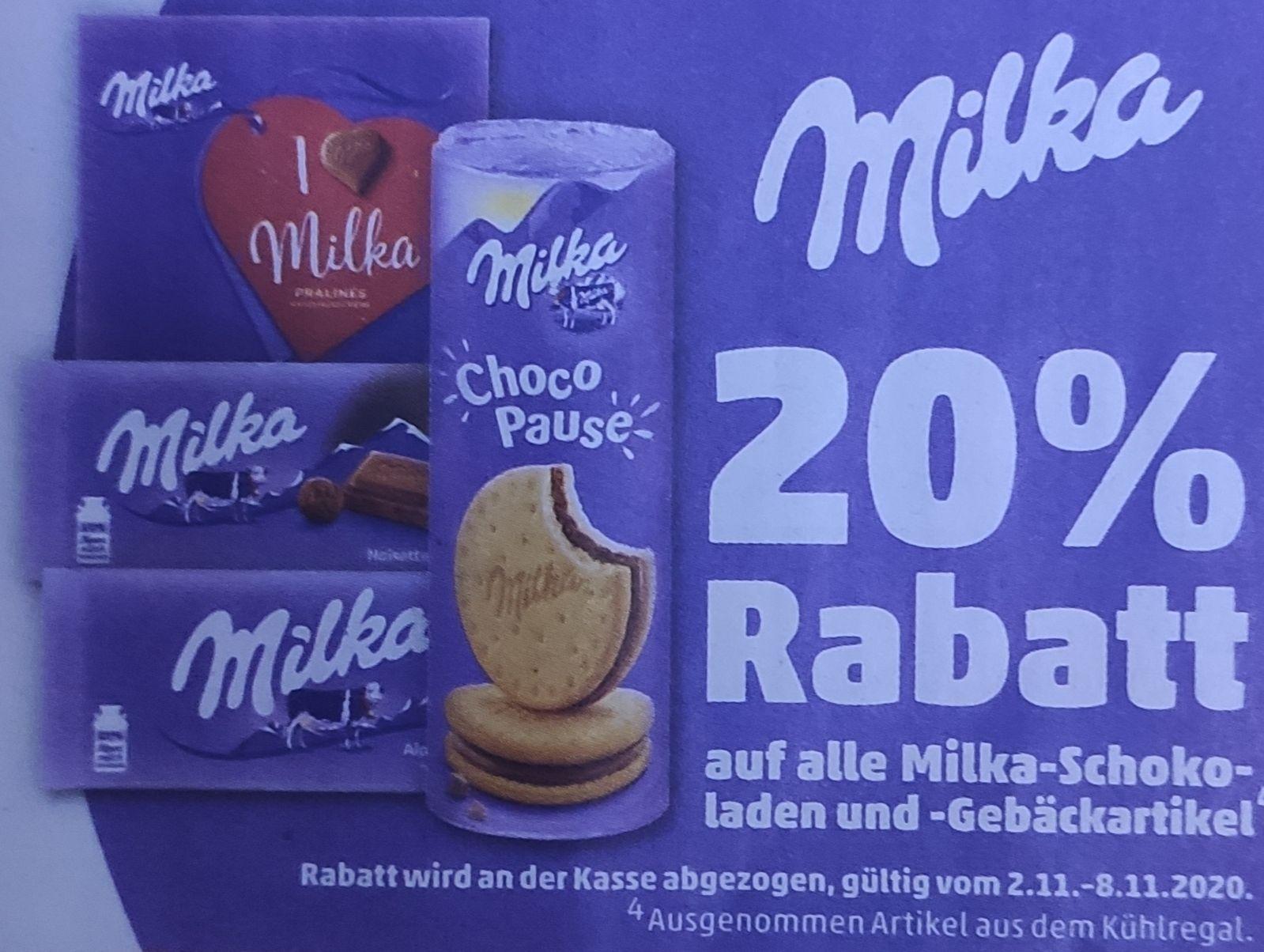 [Penny] 20% auf alle Milka Produkte + kombinierbar mit Coupon oder/und Coupies Cashback
