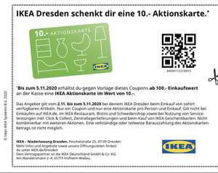 (Ikea Dresden) 10€ Aktionskarte geschenkt (MEW 100€)