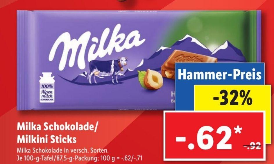 Lidl 9x Milka Schokolade 85g/100g mit Coupies Cashback für 3,58€