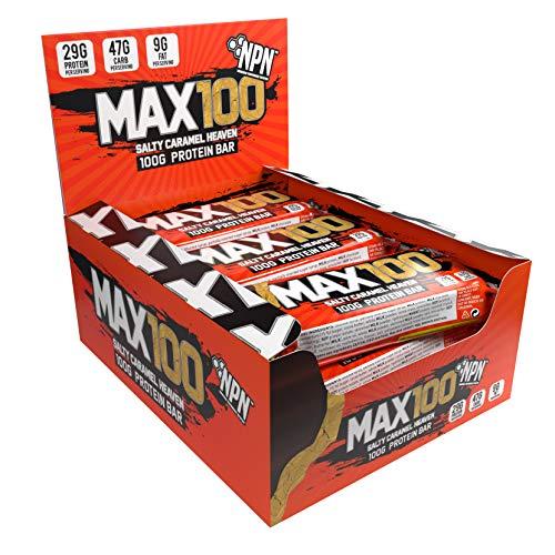 NPN MAX 100 Protein & Carb Riegel | Proteinriegel für Sport, Premiumgeschmack | 9x100g Salziges Karamell Himmel (PREISFEHLER?)