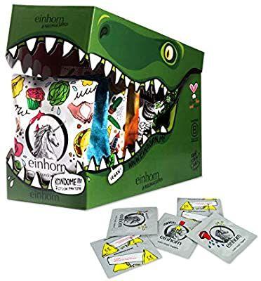 einhorn Kondome - Geschenk Special - Super Dino - 63 Stück - vegan + 2 schlüpfrige Stempel und Stickerbogen, Amazon Prime