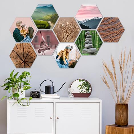4 Fotoleinwände Hexagon (auf Forex) 15x17cm inkl. Versand 18,11€ / 8 Stück 29,27 / 12 Stück 40,43€