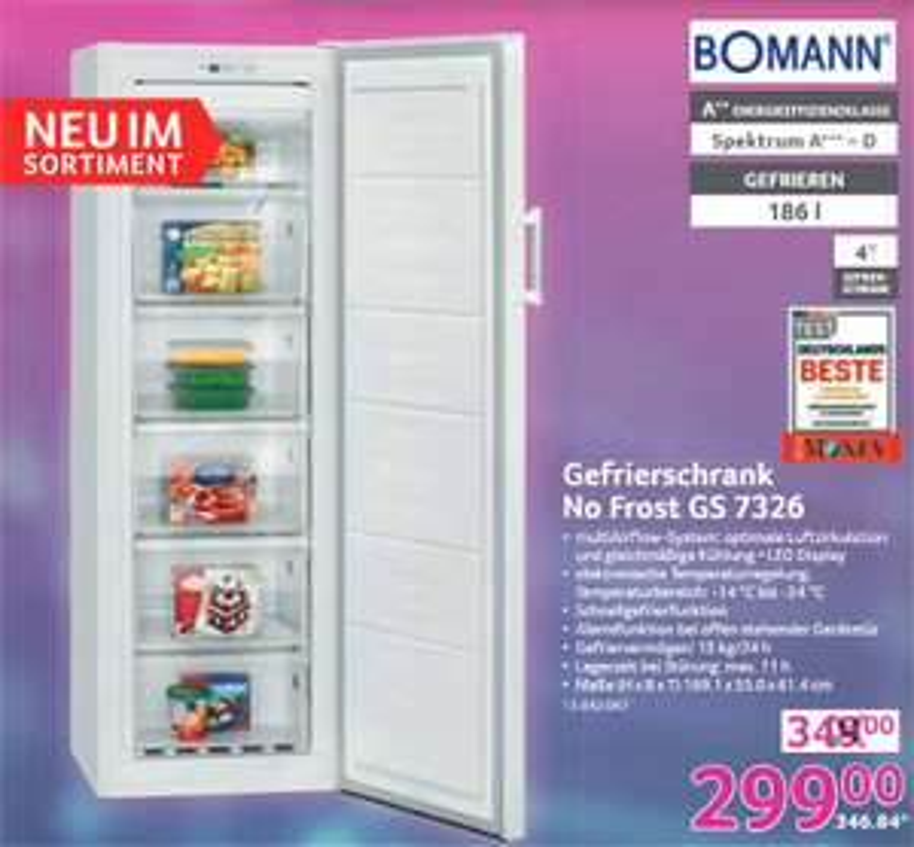 (Selgros) Bomann GS 7326 Gefrierschrank noFrost A++ 186L (312,04€ mit CB Gutschein)