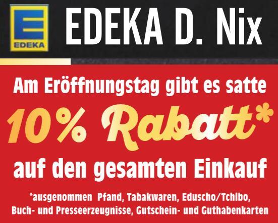 [Magdeburg, lokal] 10% Rabatt auf den gesamten Einkauf bei EDEKA Neu-Eröffnung am Donnerstag, 19.11. in Olvenstedt, Sankt-Josef-Straße 13a