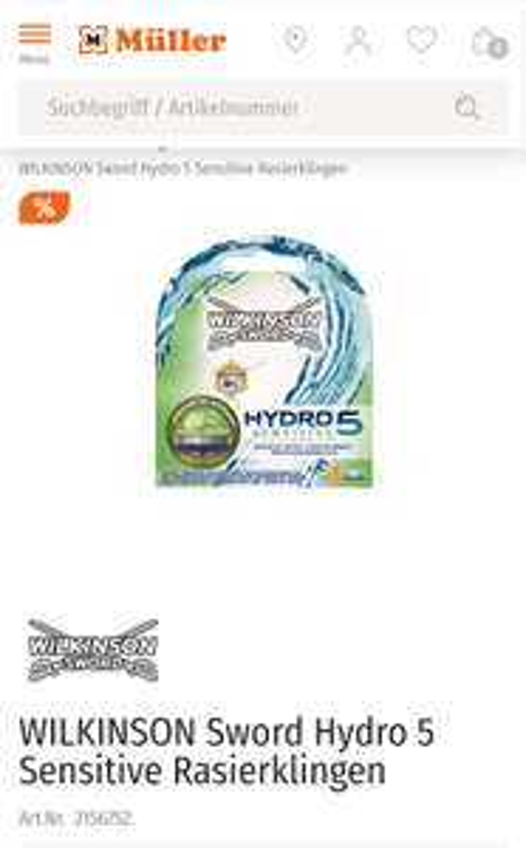 Wilkinson Hydro 5 Sensitive 4er Klingen bei Müller
