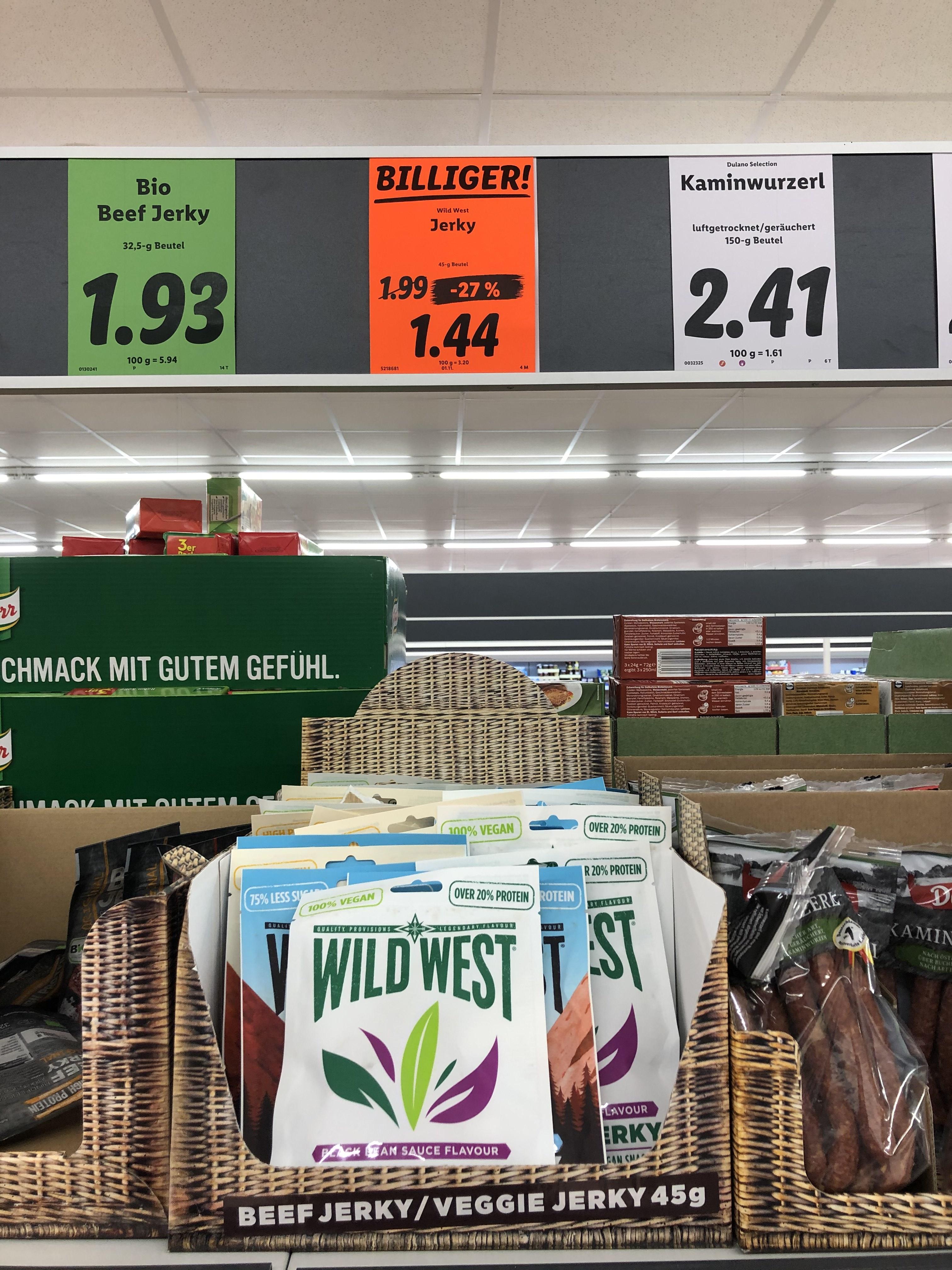 Beef jerky / Veggie Jerky 45g Wild West bei Lidl