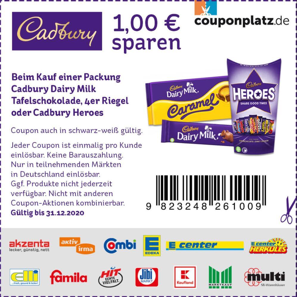1€ Coupon für Cadbury Dairy Milk Schokolade, 4er Riegel oder Cadbury Heroes (31.12.2020) zum Ausdrucken