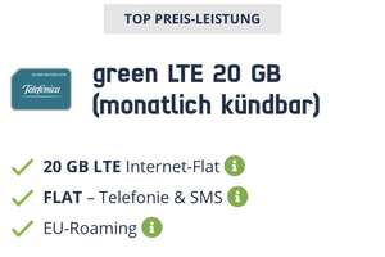 Telefonica Handyvertrag 20GB + Allnet Flat monatlich kündbar für 16,99€ (+39,99€ Anschlussgebühr und kostenloser Rufnummer-mitnahme)