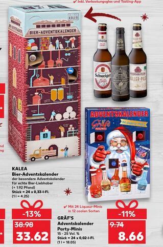 [Kaufland] Kalea BIER-Adventskalender Super-Brauerei 2020, 24 Deutsche Bierspezialitäten zzgl. 1,92 € Pfand