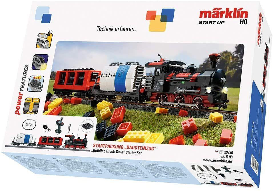 Märklin 29730 Start up ‐ Startpackung Bausteinzug, Modelleisenbahn zum Bauen, Soundfunktionen, Lichteffekte, mit Gleisen, Spur H0