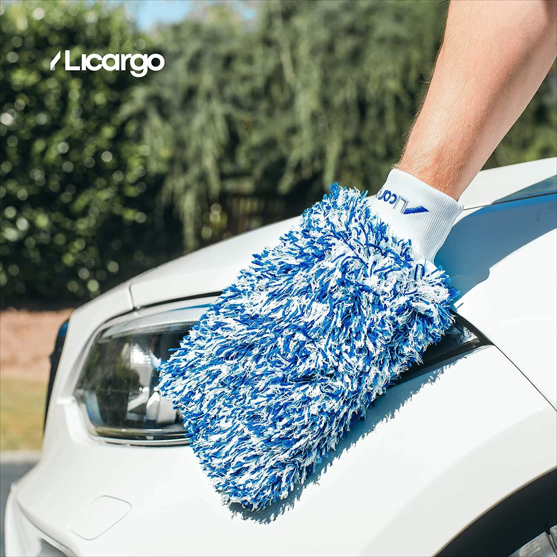 Licargo Premium Autowaschhandschuh aus saugfähigster Mikrofaser, Makelloser Auto- und Felgenhandschuh zur Autoreinigung und Autoaufbereitung