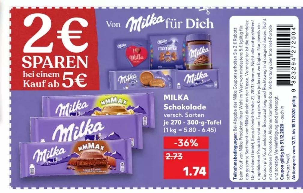 [Kaufland Do-Mi] 3x Milka Schokolade 270-300g mit Prospektcoupon für 3,22€ (mit Cashback effektiv 1,22€)