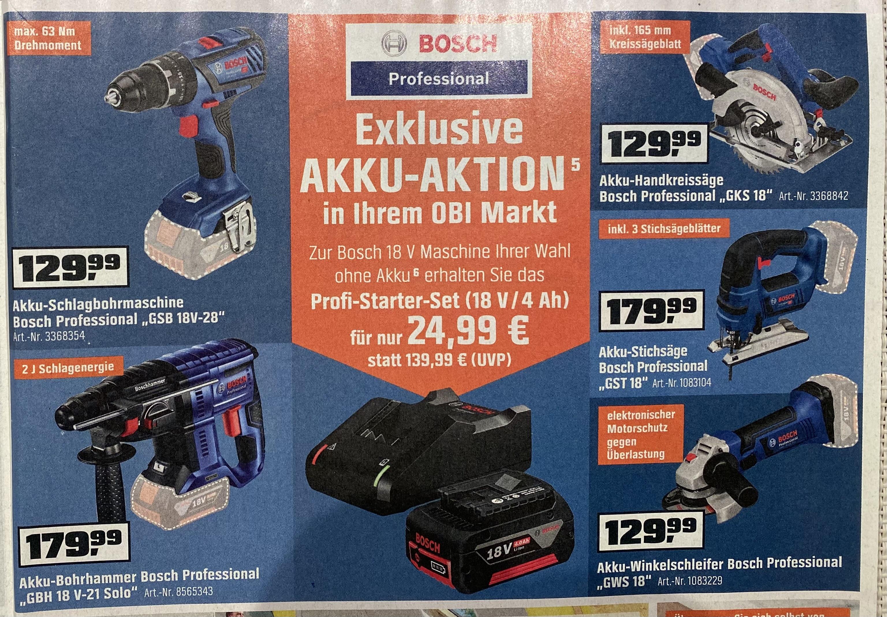 Bosch Profi-Starter Kit für 24,99 beim Kauf eines der abgebildetes Geräte bei Obi