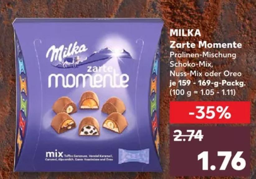 [Kaufland Do-Mi] 3x Milka Zarte Momente mit Prospektcoupon für 3,28€ (mit Cashback für effektiv 1,28€)