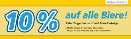[real deutschlandweit] 10% auf Bier am 6.2.: 9 Euro pro Kasten 20x0,5l Bitburger+Krombacher, 9,44 für Krombacher