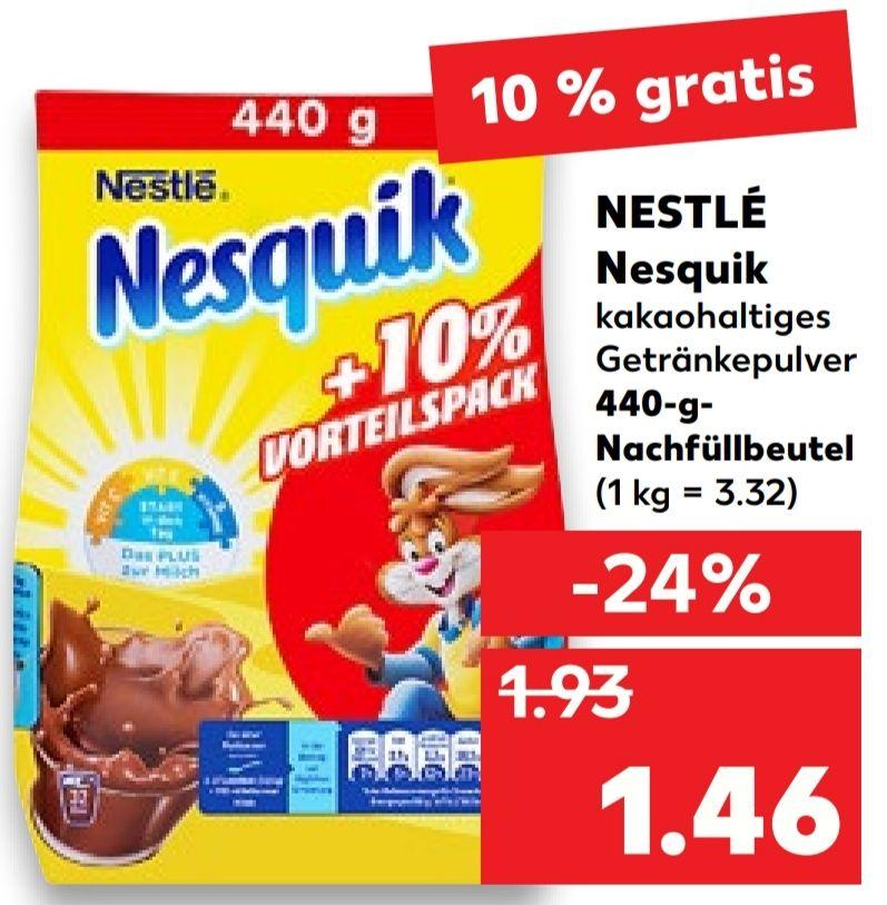 [Kaufland Do-Mi] Nesquik Kakaopulver +10% gratis mit Marktkguru Cashback für effektiv 1,06€
