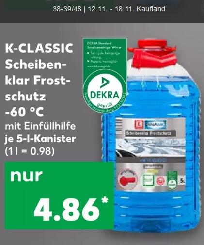 [Kaufland + ALDI Nord + Süd] Scheibenfrostschutz -60°C ab 4,86€ 5L