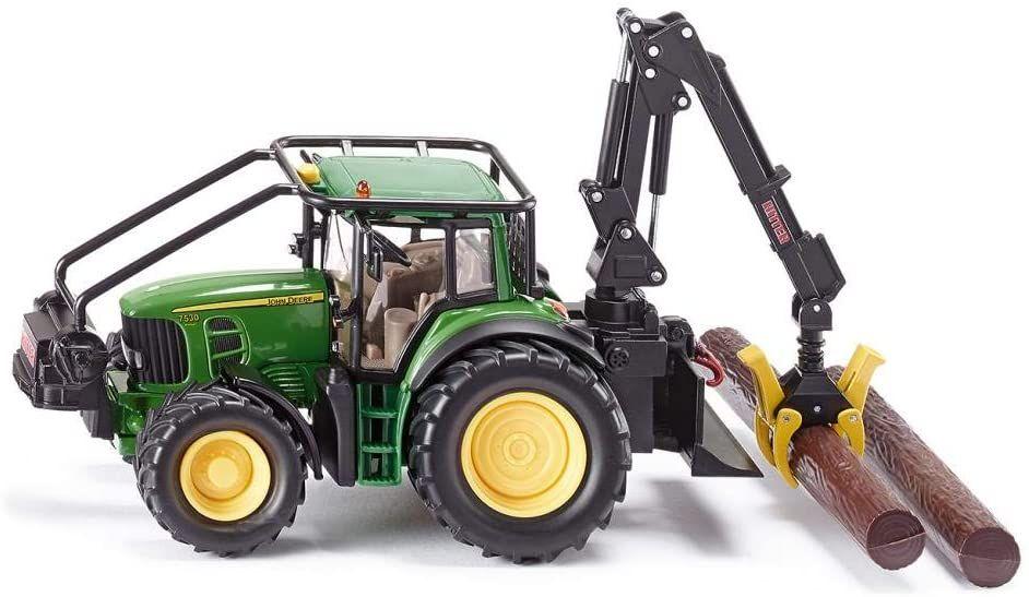 SIKU 4063, John Deere Forsttraktor, 1:32, Metall/Kunststoff, Grün, Bewegliche Greifer, Winde mit Rückzugmotor [Amazon Prime]