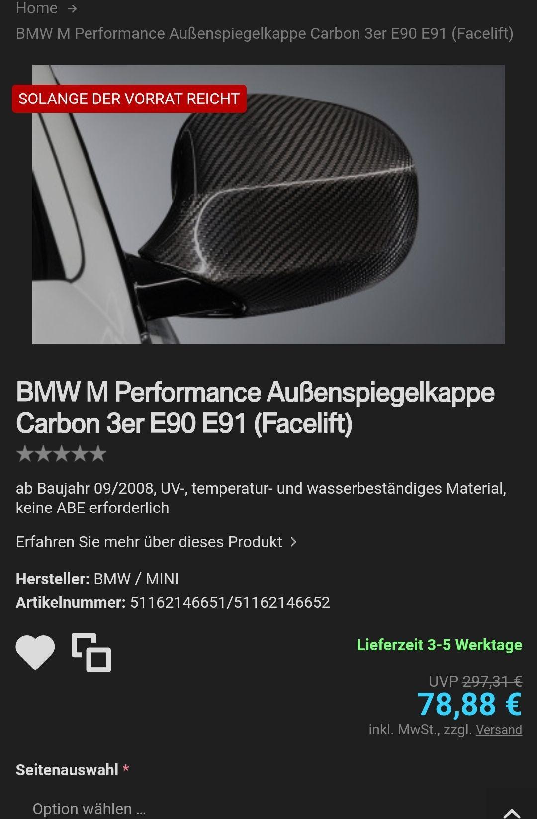 2x Original Bmw Carbon Spiegelkappe für 3er E90/E91 FL