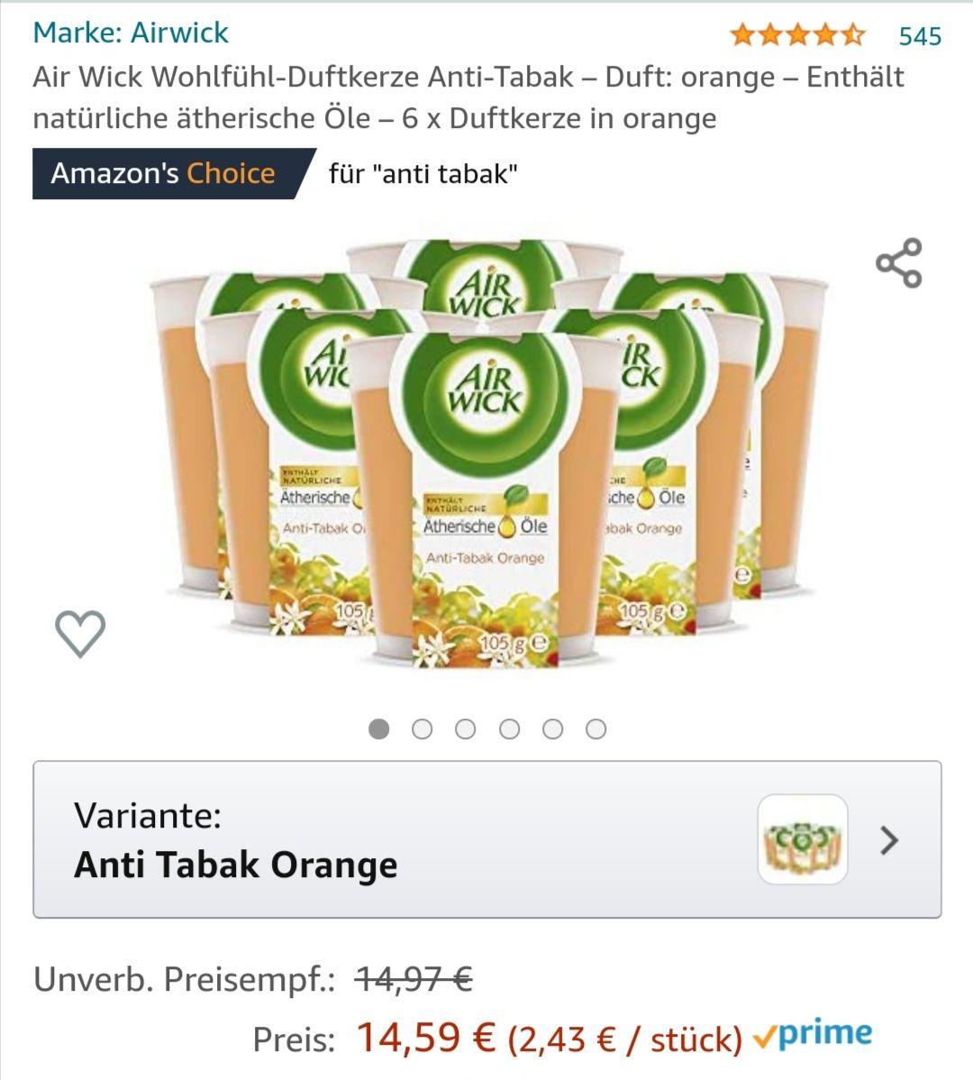 6 x Air Wick Wohlfühl-Duftkerze Anti-Tabak – orange - Amazon Prime