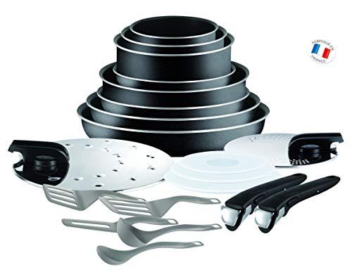 Tefal Ingenio Set, Aluminium, schwarz, 20 pièces (Nicht für Induktion geeignet) [Energieklasse A]