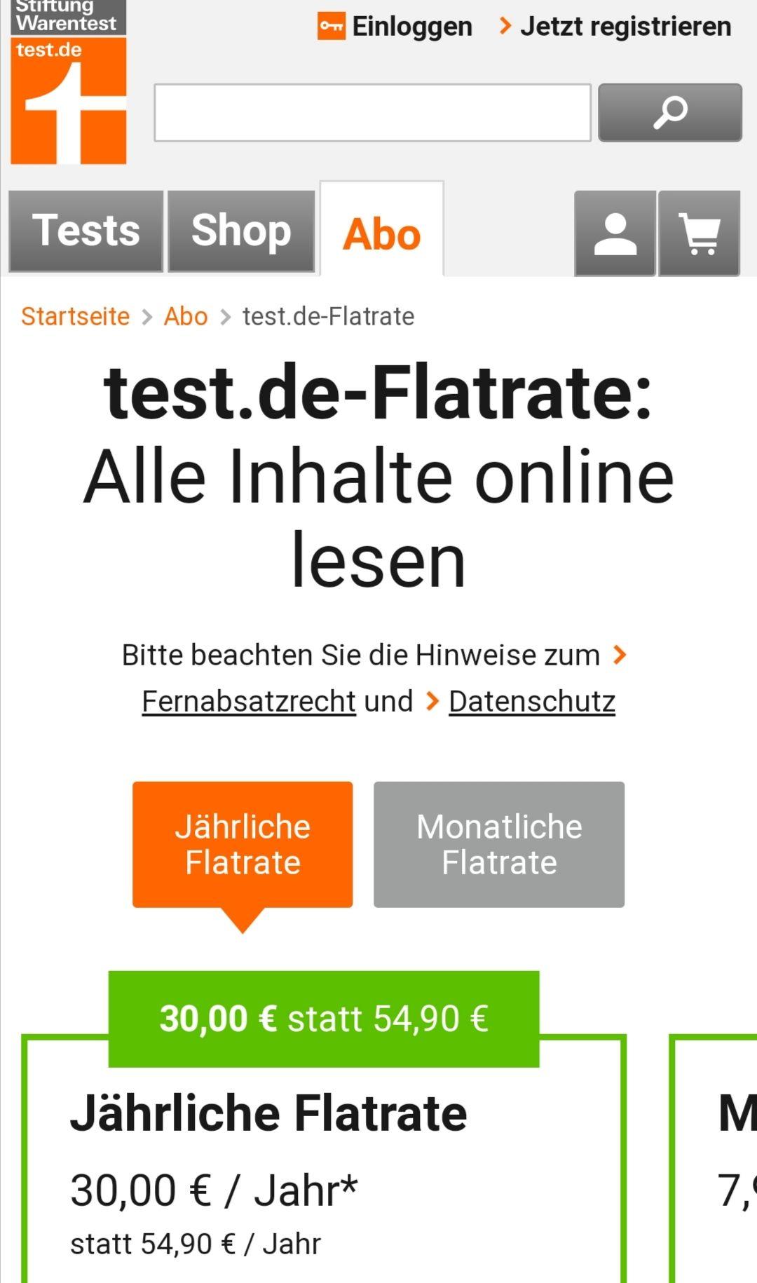 Stiftung Warentest & Finanztest Flatrate 30,00 statt 54,90 Euro