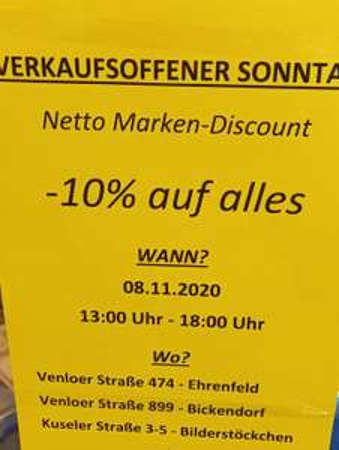 LOKAL Köln/Regensburg - [Netto MD] 10% auf alles, verkaufsoffener Sonntag