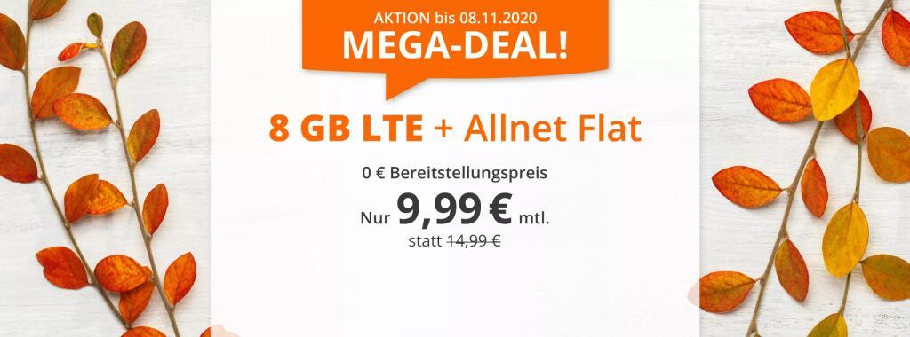 Sim.de o2 Allnet-Flat mit 8GB LTE für 9,99€ (statt 15€)