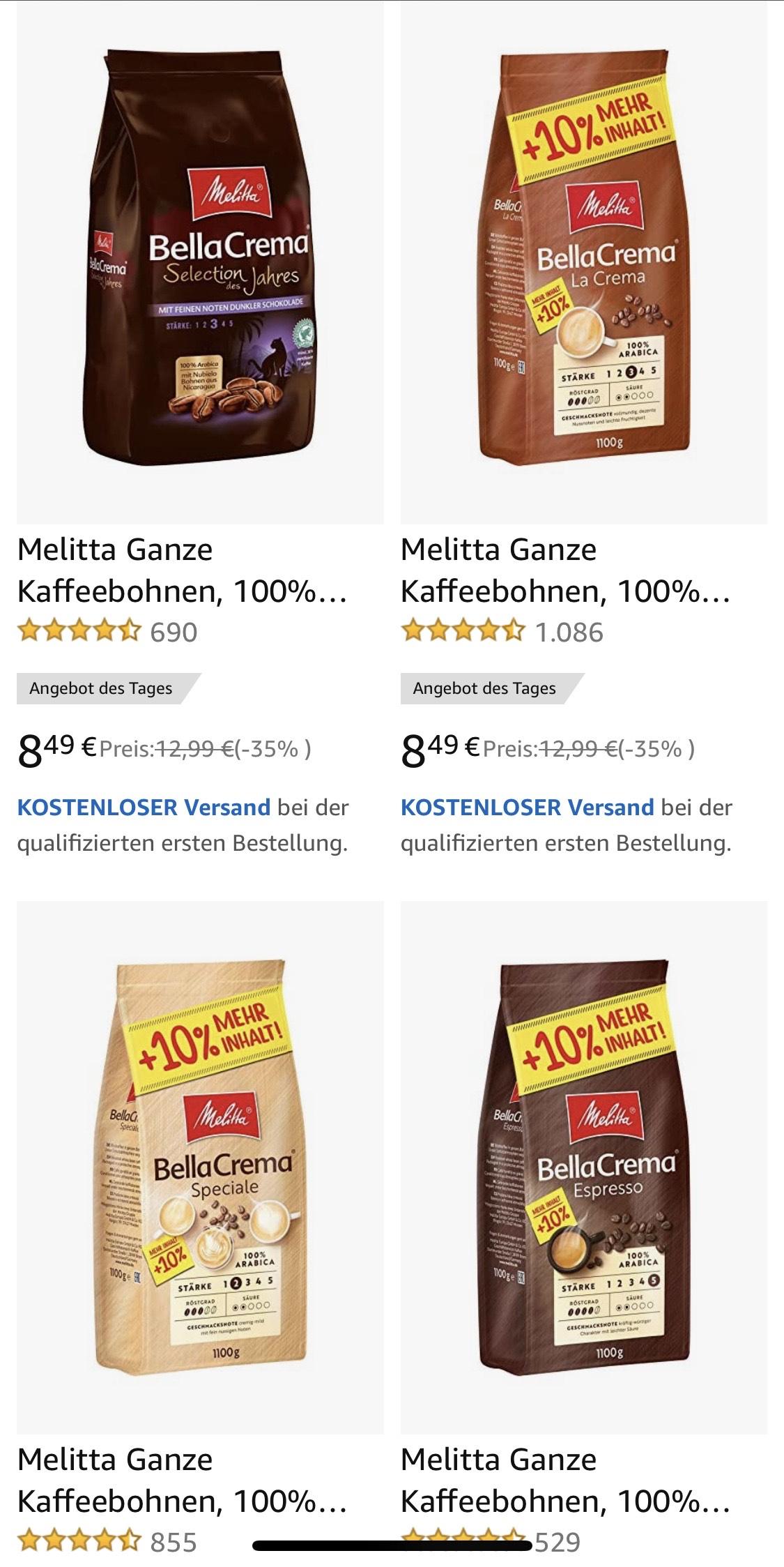 Melitta BellaCrema - ganze Kaffeebohnen - 1,1 kg (Amazon Tagesangebot)