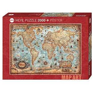 [Amazon Prime] Heye Puzzle 29845 The World Standart 2000 Teile, Map Art, inkl. Poster, Brown