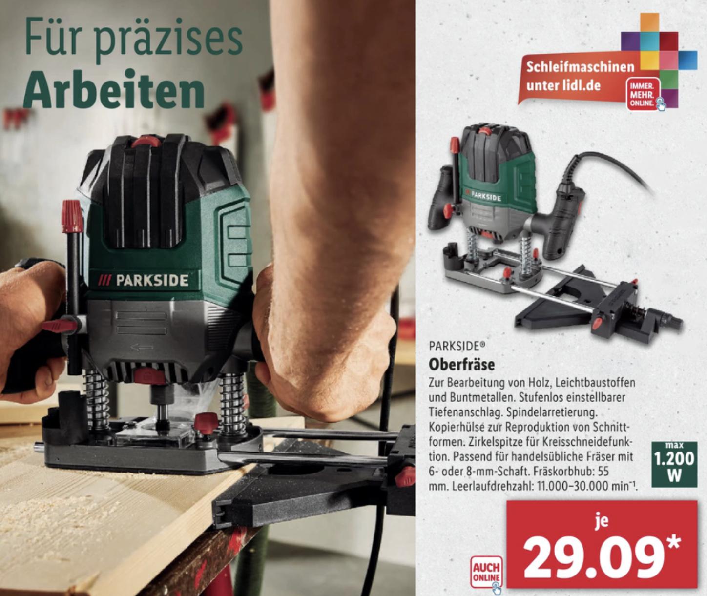 Lidl: PARKSIDE Oberfräse mit Tiefenanschlag inkl. 6-teiligem Fräsersatz für 29,09€ / Drechselmaschine f. Holzwerkstücke bis 60cm für 77,59€