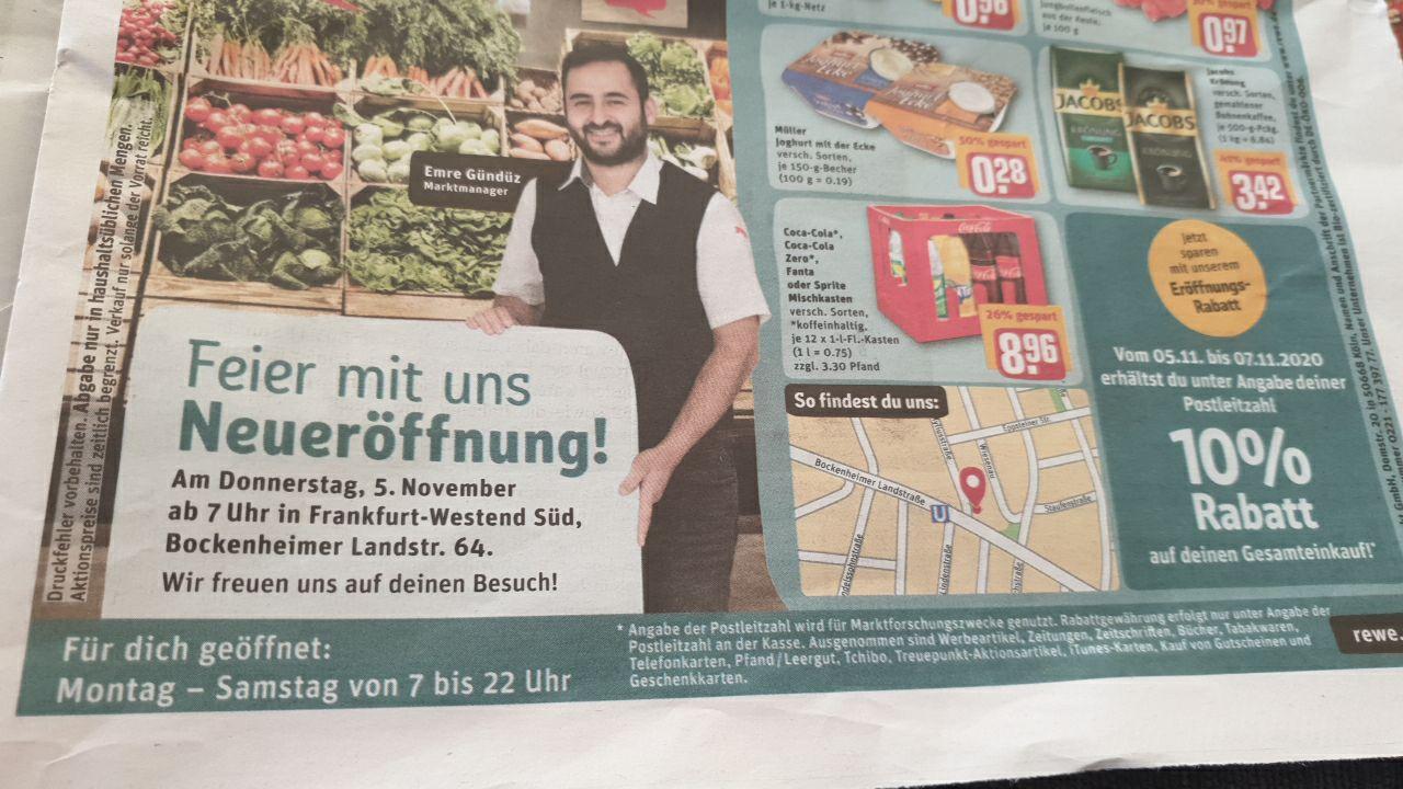 10% auf Einkauf bei REWE in Frankfurt-Westend Süd (Bockenheimer Landstr. 64) LOKAL