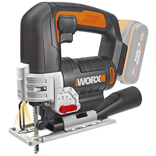"""Worx 20V-Akku-Pendelhub-Stichsäge """"WX543.9"""" (Sologerät ohne Akku und Ladegerät, Schnellwechselsystem, Mit Absaugadapter) [Amazon]"""