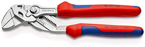 KNIPEX (86 05 180) Zangenschlüssel 180 mm verchromt mit Mehrkomponenten-Hüllen