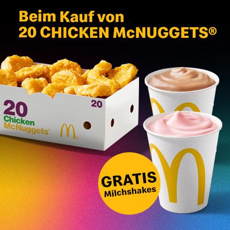 2 Milchshakes + 20er Chicken MgNuggets/Spicy fuer 8,29€ [McDonalds App]