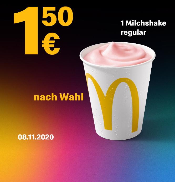 1x Milchshake Regular nach Wahl für 1,50€ am 08.11.2020 [McDonalds App]