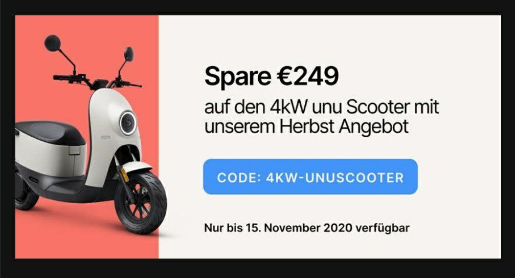 Unu Scooter Gutschein 4kw + Helm (3kw100€)