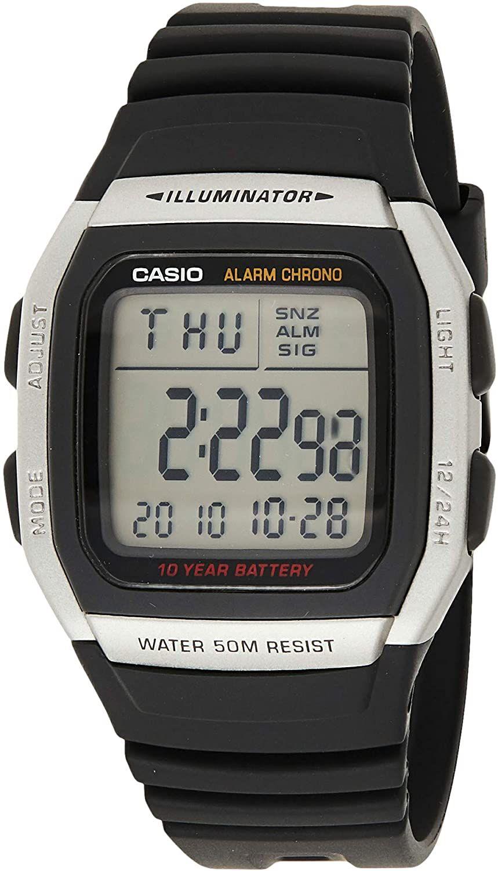 Casio Collection Digitaluhr W-96H-1AVES (wasserdicht bis 5 bar, Kalender, Datumsanzeige, Stopp-Funktion, Quarz, Beleuchtung)