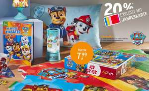 [Ernsting's Family] 20% Rabatt auf ausgewähltes Spielzeug und Kinderklamotten für Jahreskarteninhaber - z.B. PAW Patrol Langarmshirt