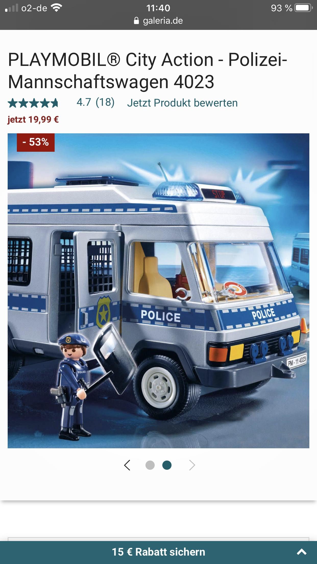 (Galeria Karstadt Kauhof) Playmobil Polizei-Mannschaftswagen 4023