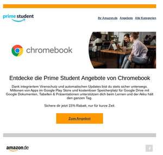 Amazon Student zusätzlich 15% auf ausgewählte Chromebooks