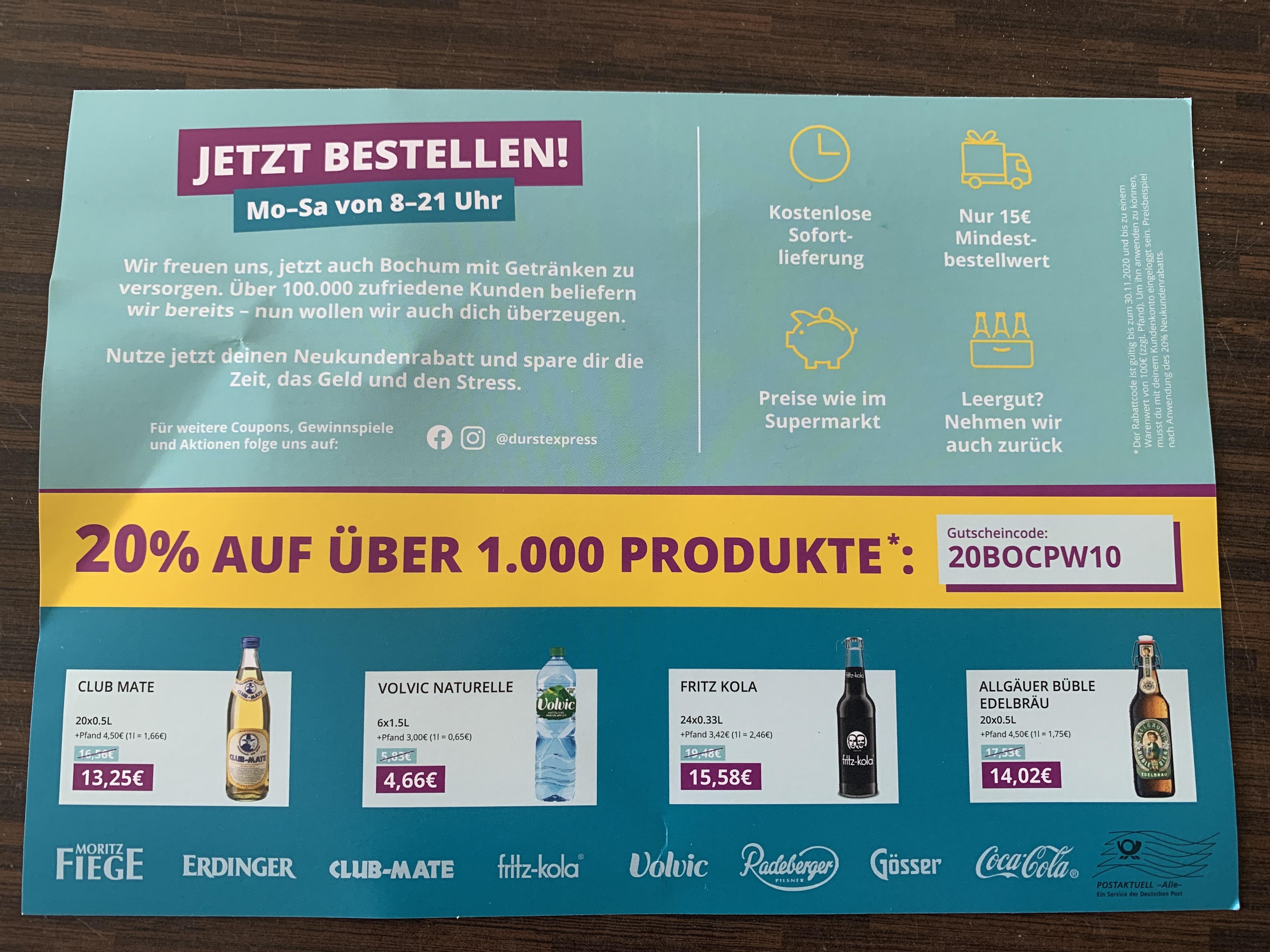 (Lokal Herne?) Durstexpress 20% Gutschein für Neukunden