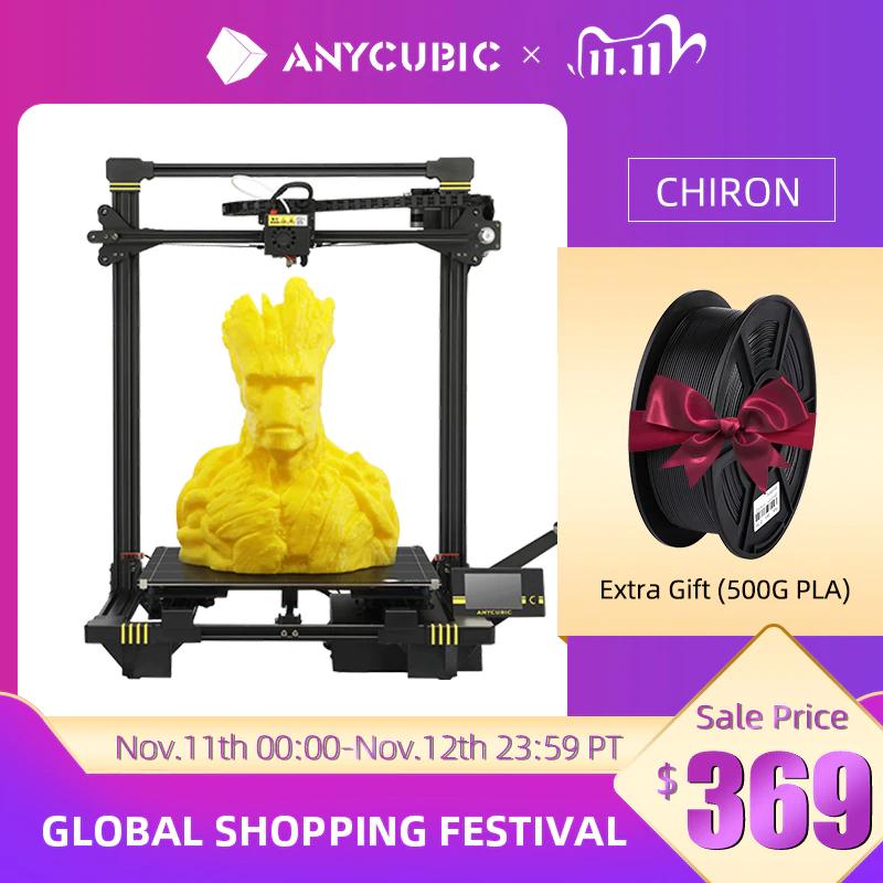 Anycubic 3D Drucker Chiron+ 500g PLA für 321,16€ (FDM, Automatik-Leveling, 400mmx400mmx450mm, Cura)