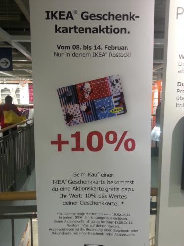 (Lokal - Rostock) IKEA Geschenkkartenaktion - 10% Bonus