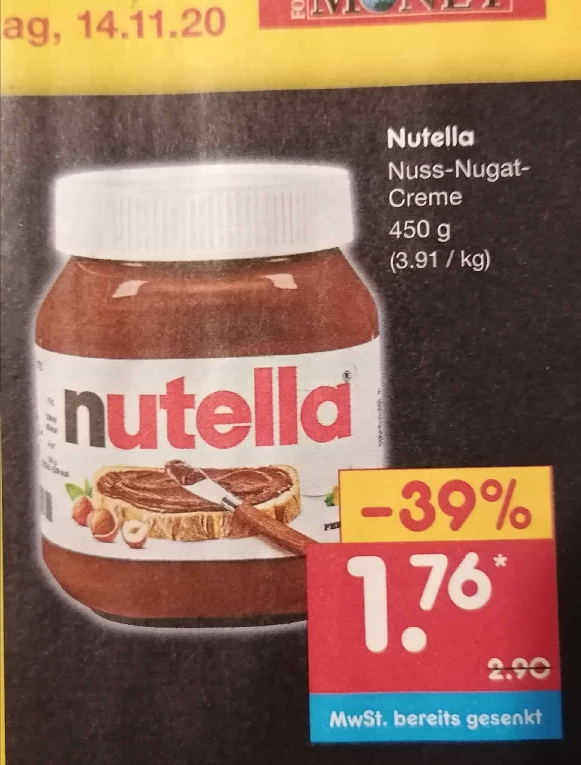 Nutella Nuss-Nugat-Creme [Netto] 12.11.-14.11.2020 - 1,76€ (1,41€ mit 20% Netto Gutschein möglich)